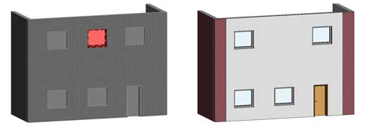 Tutorial come visualizzare un nuovo materiale per il rendering su un esistente muro di mattoni in Autodesk Revit Architecture